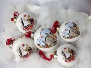 palle di natale con Santa Rita in ceramica