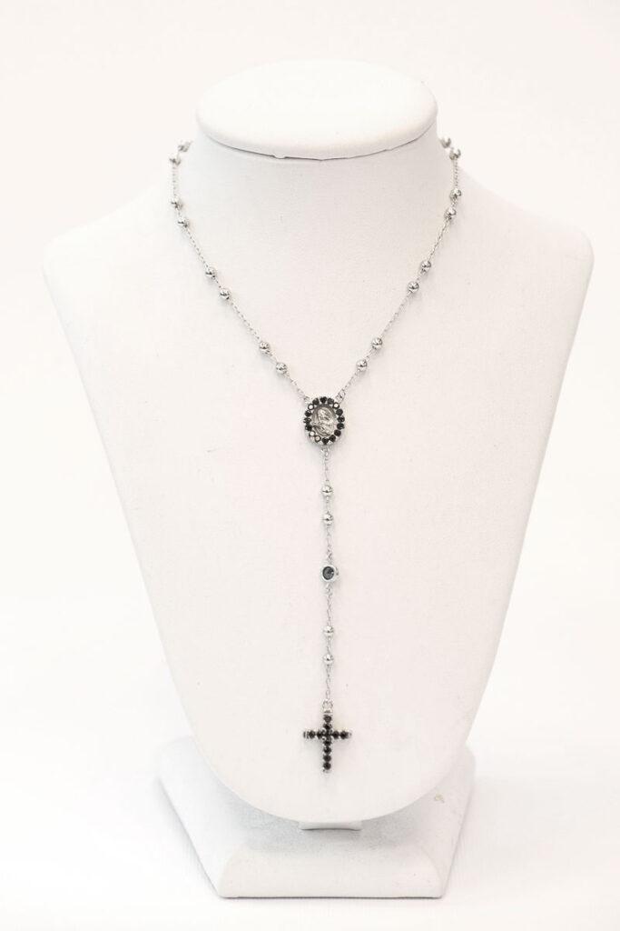 Rosario da collo in argento 925 con immagine di S. Rita