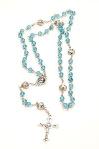 Rosario di Santa Rita in mezzo cristallo azzurro