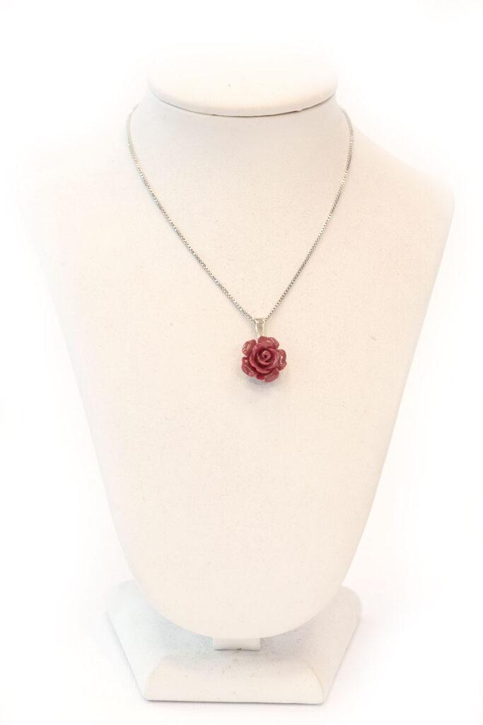 rosa ciondolo con catena in argento 925o argento